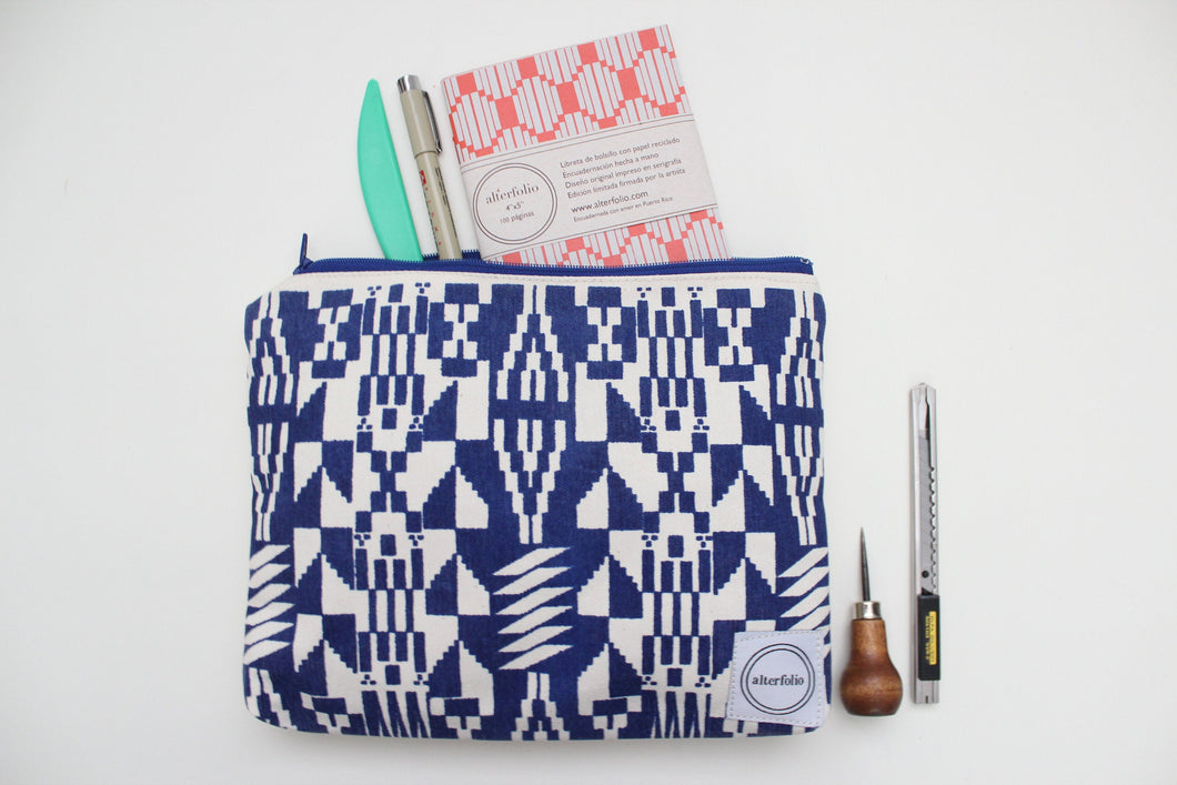 Navy Blue Kente Cloth Inspired Screen Printed Zipper Pouch