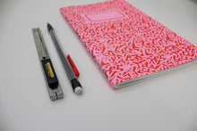 Load image into Gallery viewer, Red Pattern Screen Printed Notebook with Blank Recycled Paper