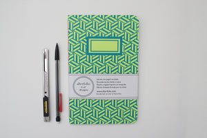 Blue Hexagon Pattern Screen Printed Notebook with Blank Recycled Paper