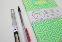 Load image into Gallery viewer, Turquoise Hexagon Pattern Screen Printed Notebook with Blank Recycled Paper