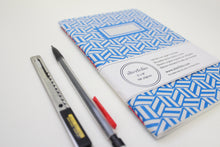 Load image into Gallery viewer, Blue Hexagon Pattern Screen Printed Notebook with Blank Recycled Paper
