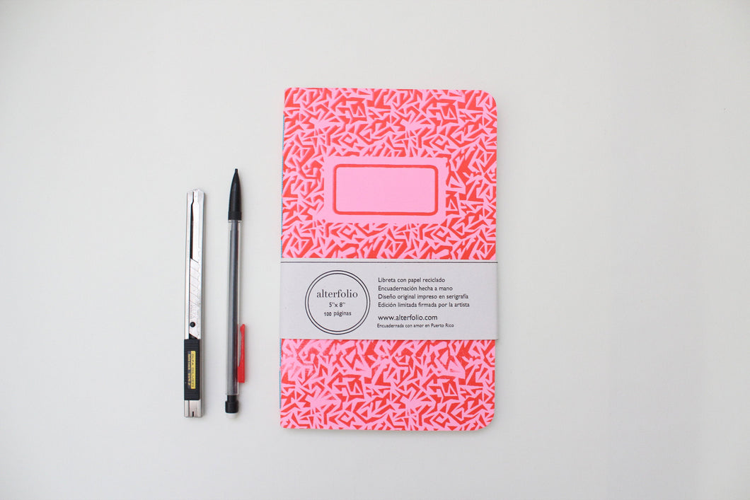 Red Pattern Screen Printed Notebook with Blank Recycled Paper