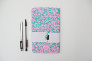 Turquoise Pattern Screen Printed Notebook with Blank Recycled Paper
