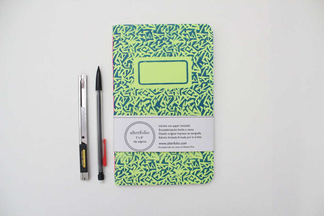 Ultramarine Blue Pattern Screen Printed Notebook with Blank Recycled Paper