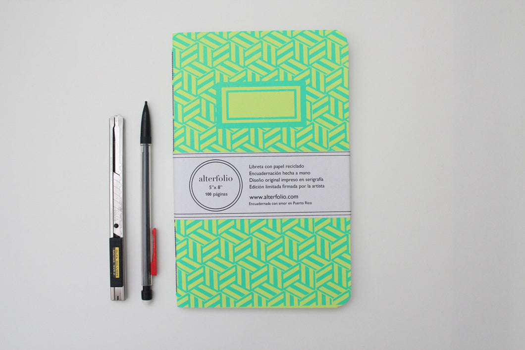 Turquoise Hexagon Pattern Screen Printed Notebook with Blank Recycled Paper