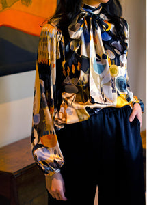 Sarah Badeni Silk Bow Blouse Abstract