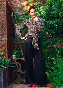 Black Bias Strip Palazzo Pants