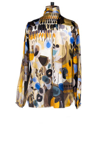 Sarah Badeni Tie Bow Blouse Abstract