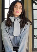 Load image into Gallery viewer, Silver Grey Silk Lurex Blouse