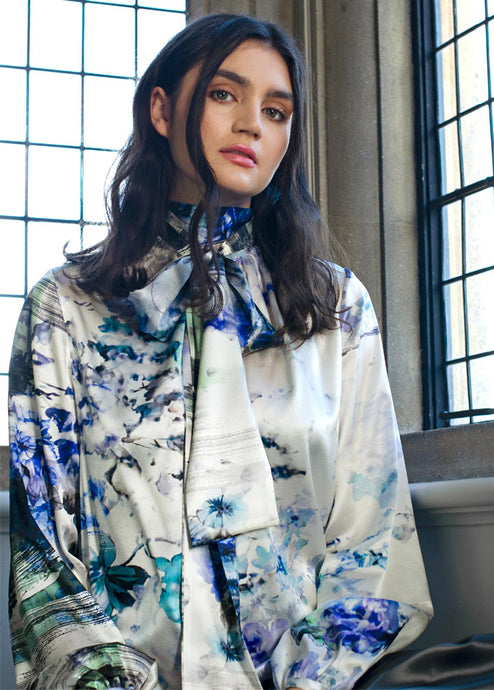 Pure Silk Watercolour Blouse