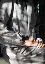 Load image into Gallery viewer, Grey Silk Palazzo Pant Details