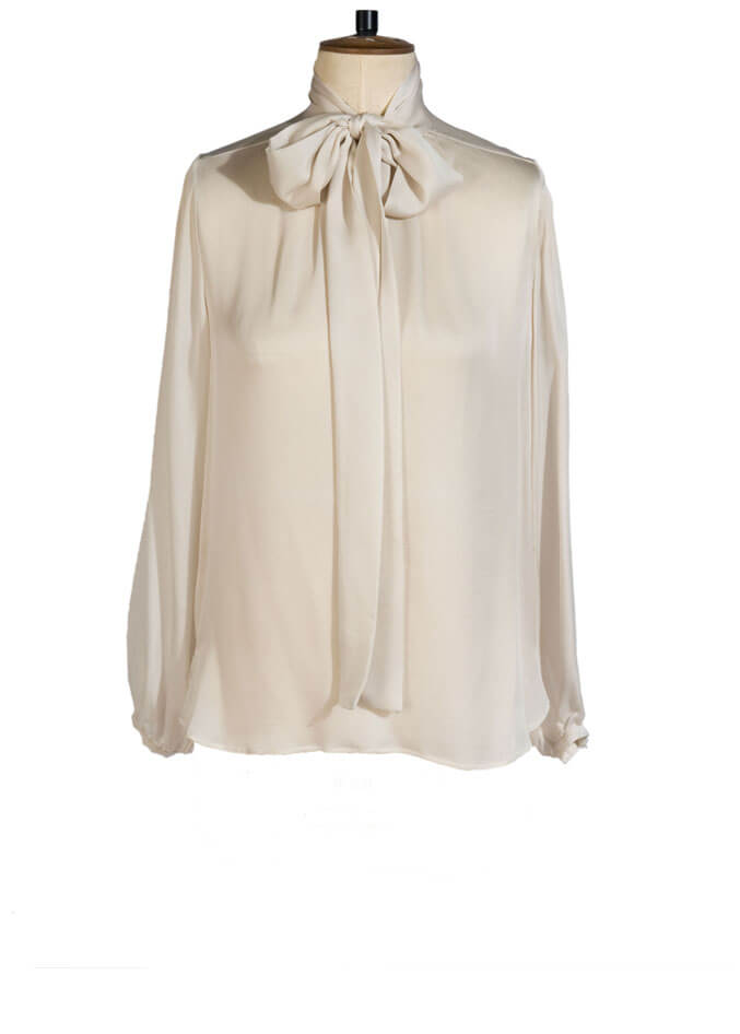 silk bow blouse winter white | sarah badeni