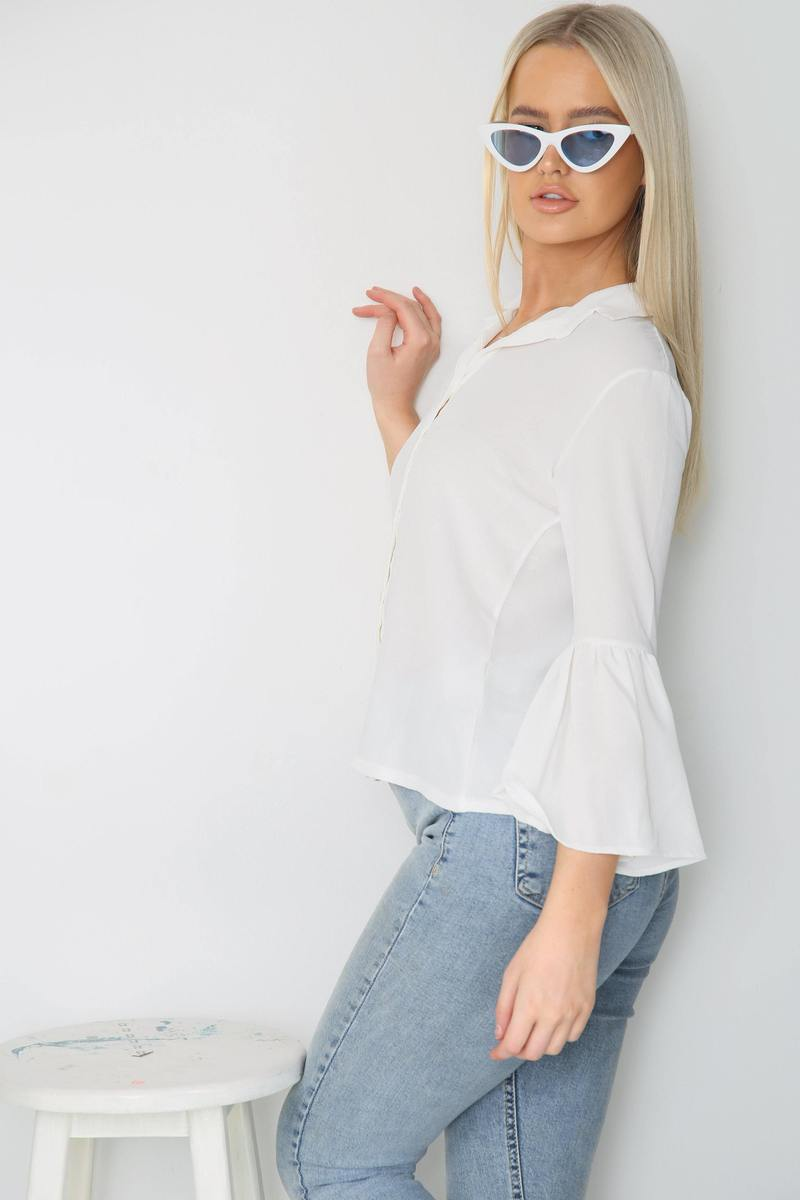 White Flare Sleeve Button Shirt