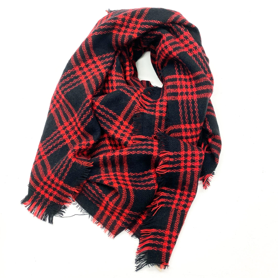 Primary Photo - BRAND:    CLOTHES MENTOR <BR>STYLE: SCARF WINTER <BR>COLOR: RED BLACK <BR>SKU: 180-18038-105618