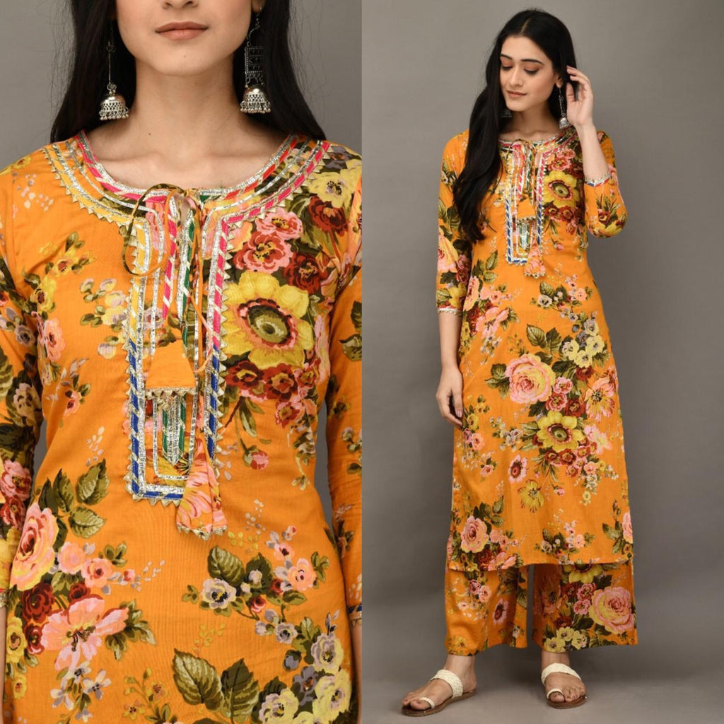 Mustard Cotton Floral Print Fashion Kurti Palazzo Suits Online