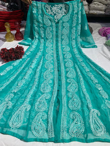 Light Teal Chiffon Lucknawi Chikankari Kurtis Ladies Anarkali Top Online