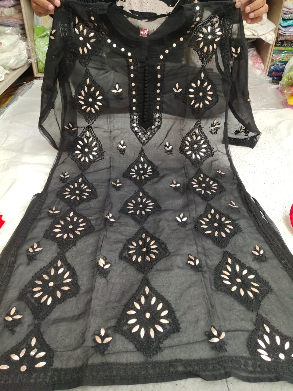 Black Georgette Embroidered Chikan Kurti Dress Salwar Suit