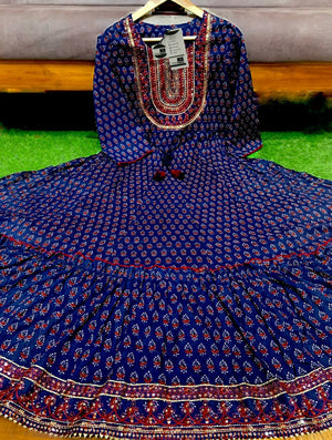 Navy Blue Cotton Block Print Gown Style Anarkali Dress Online