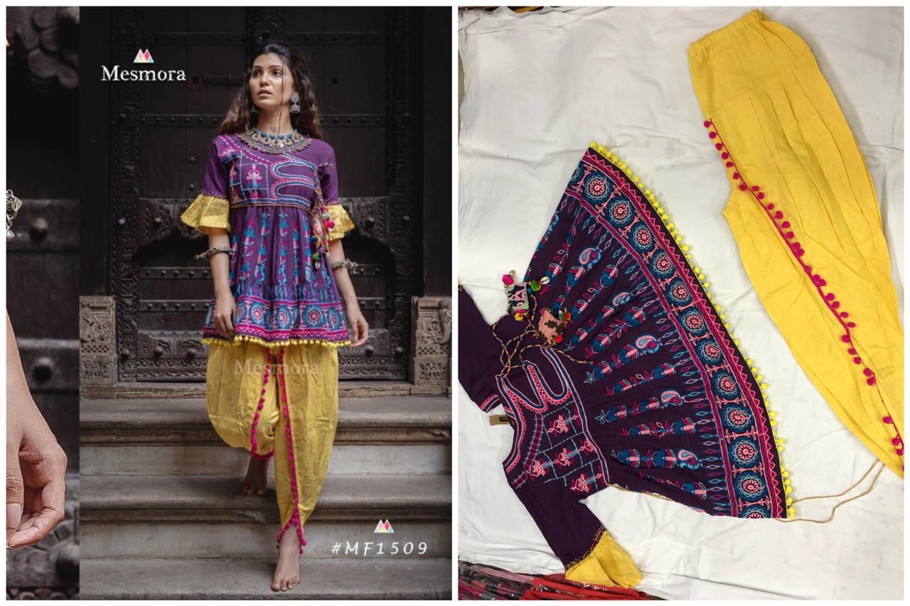 Purple Yellow Embroidered Ethnic Wear Kedia And Tulip Pants
