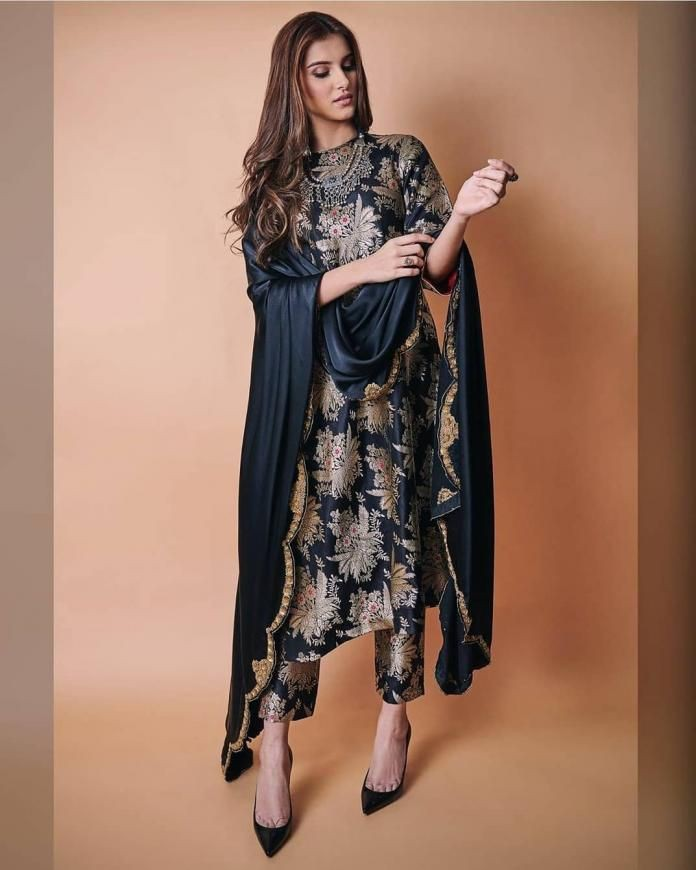 Black Rayon Gold Printed Latest Kurti Pant Suits India Online