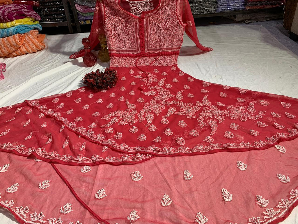 Red Embroidered Dual Layer Gown Style Latest Kurtis Online Shopping