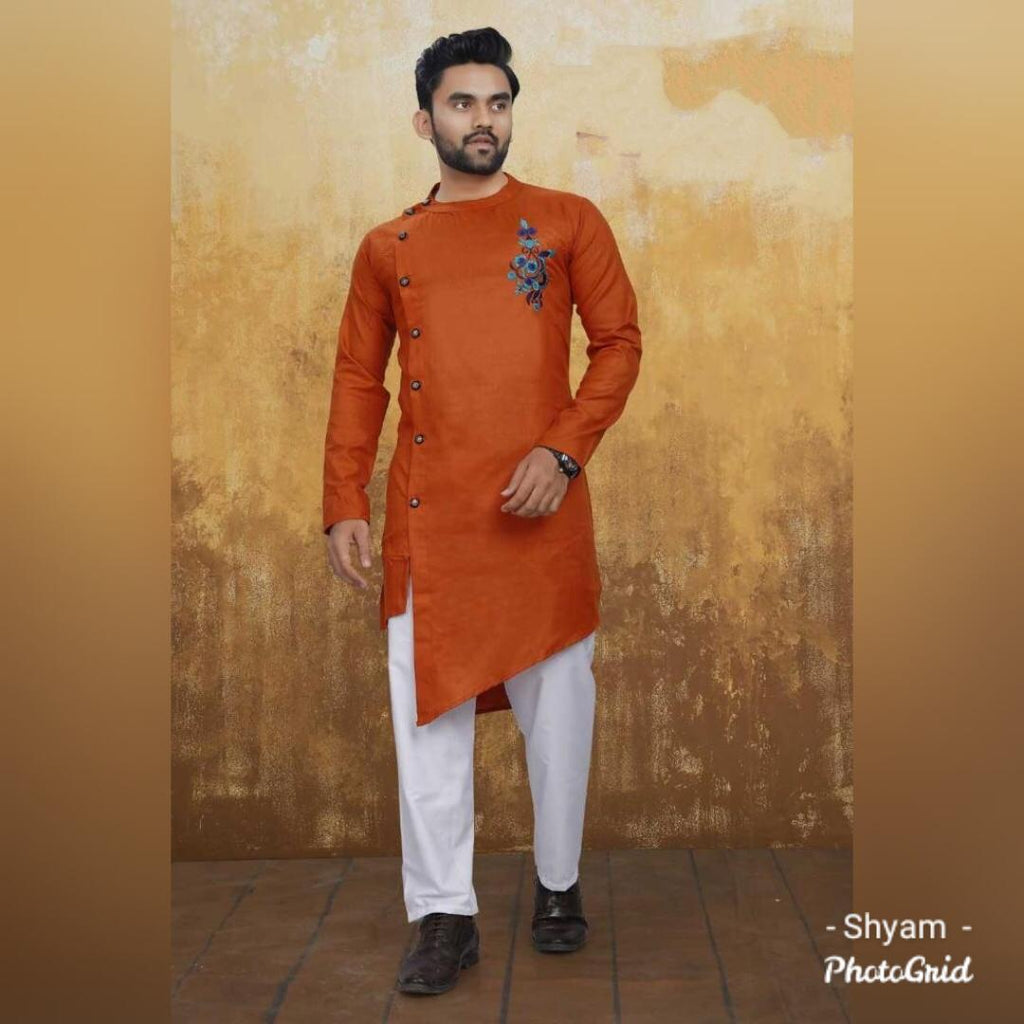 Orange Cotton Side Button-Down Asymmetrical Men's Kurta Pajama