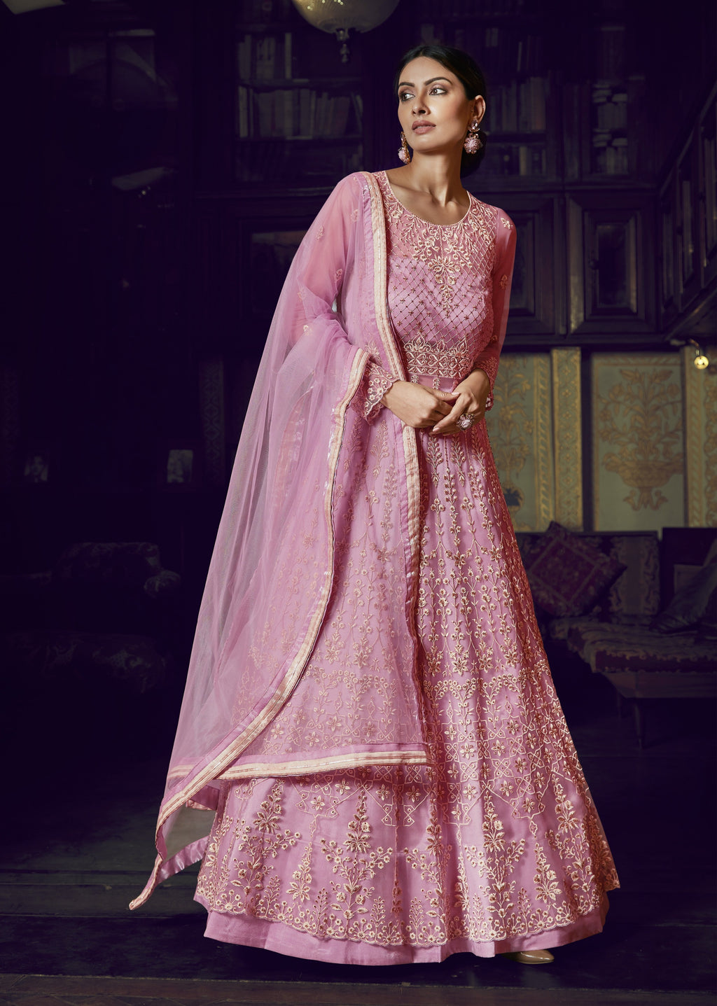 Pink Net Embroidered Anarkali Lehenga Choli