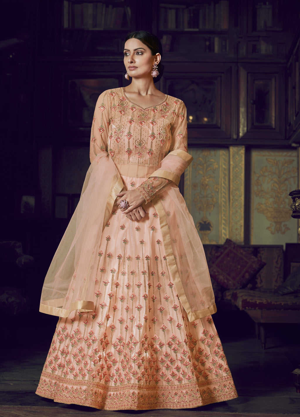 Peach Net Embroidered Anarkali Lehenga Choli