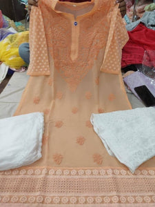 Peach Color Chikankari Kurti Sharara Set with Chiffon Dupatta