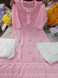 Light Pink Chikankari Kurti Sharara Set with Chiffon Dupatta