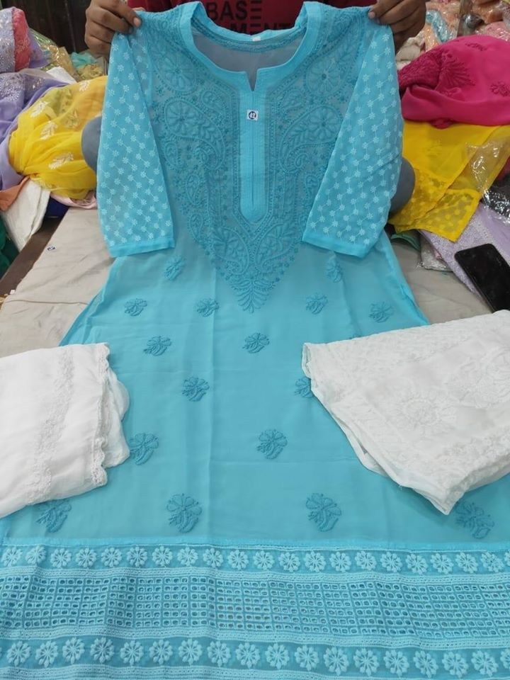 Elegant Light Blue Chikankari Kurti Sharara Set with Chiffon Dupatta