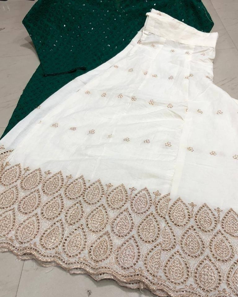 Dark Green Cotton Chikankari Kurti And Cut Work Sharara Suit Shopping