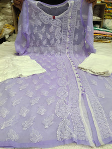 Lilac Embroidered Chikan Kurtis Angrakha Ladies Suit Online Shopping