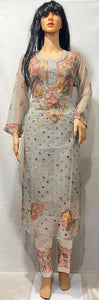 Light Grey Chikan Embroidered Kurtis Indian Dress Salwar Kameez