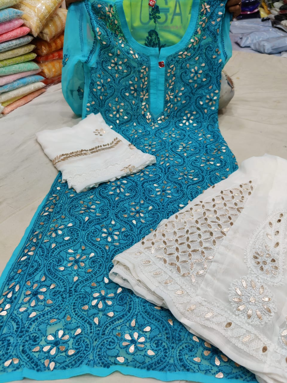 Teal Blue Georgette Gota Patti Kurti Palazzo Indian Suits Online India