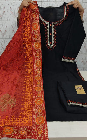 Black Handloom Silk Latest Kurti Palazzo Salwar Suit Online
