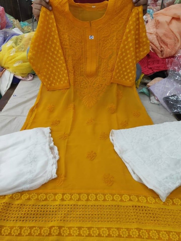 Mustard Color Chikankari Kurti Sharara Set with Chiffon Dupatta