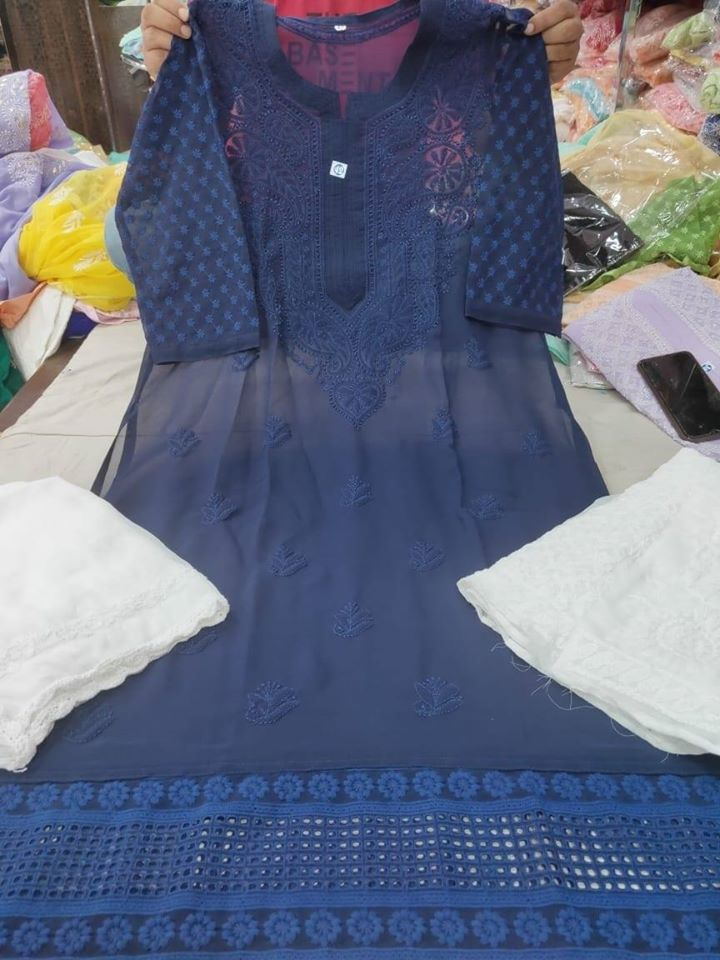 Dark Blue Color Chikankari Kurti Sharara Set with Chiffon Dupatta
