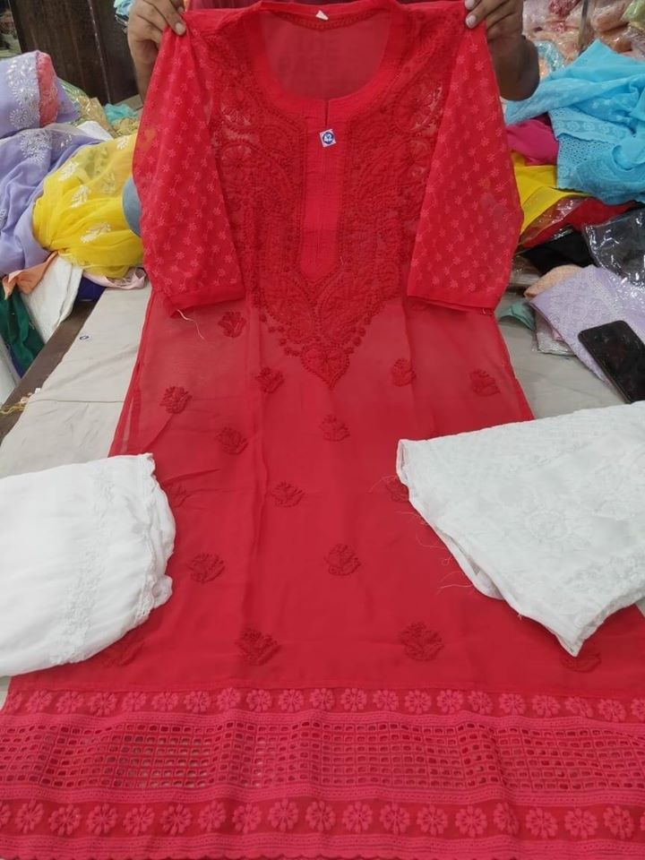 Glamourous Red Chikankari Kurti Sharara Set with Chiffon Dupatta