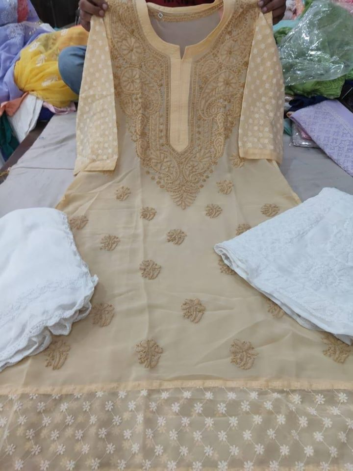 Brown Chikankari Kurti Sharara Set with Chiffon Dupatta