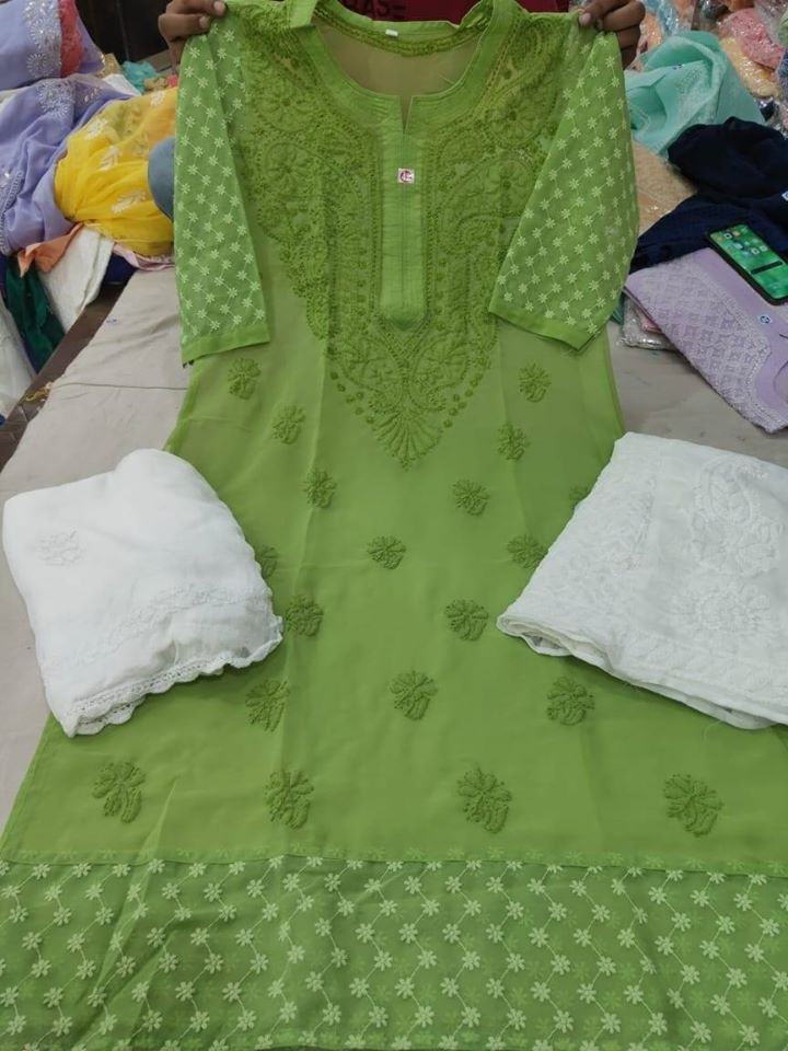 Green Chikankari Kurti Sharara Set with Chiffon Dupatta