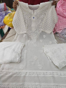 Beautiful White Chikankari Kurti Sharara Set with Chiffon Dupatta