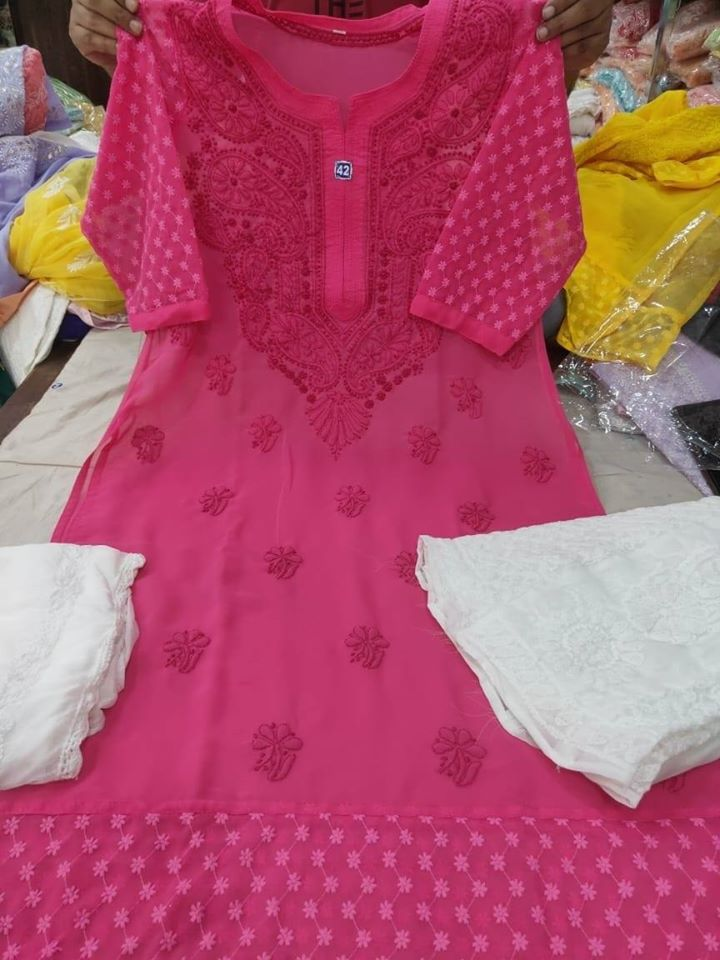 Bright Pink Chikankari Kurti Sharara Set with Chiffon Dupatta