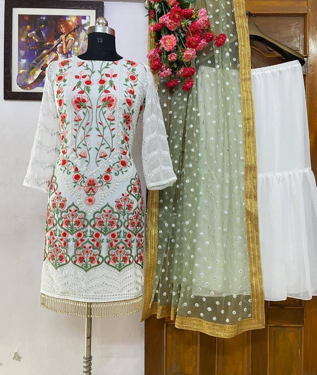 White Georgette Embroidered Latest Indian Kurti Palazzo Suits