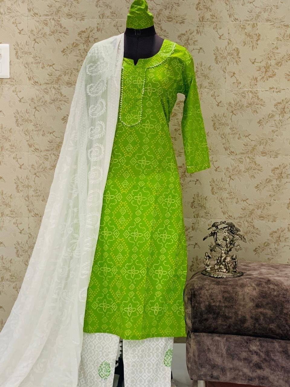 Green Cotton Jaipuria Print Latest Kurti Palazzo Suits Online