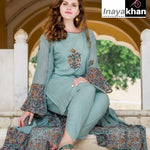 Light Teal Rayon Hand Block Print Kurti Dhoti Sets Online Shop