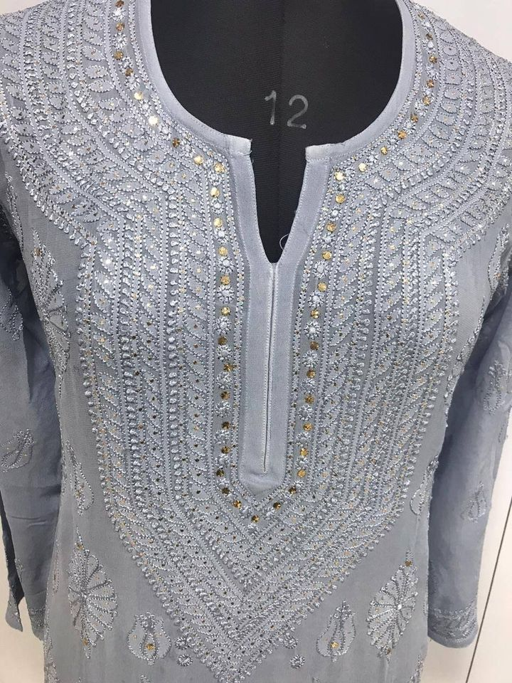 Grey Lucknowi Chikankari Pure Viscose Kurti Dress Shopping Online