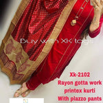 Red Rayon Gota Work New Indian Kurti Pant Style Salwar Suits Online