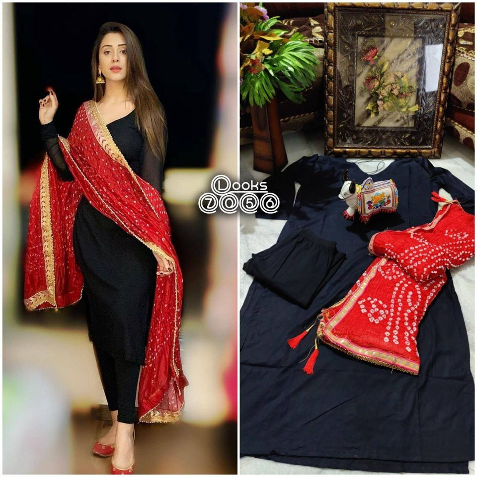 Gorgeous Black Rayon Kurtis With Leggings And Bandhej Dupatta