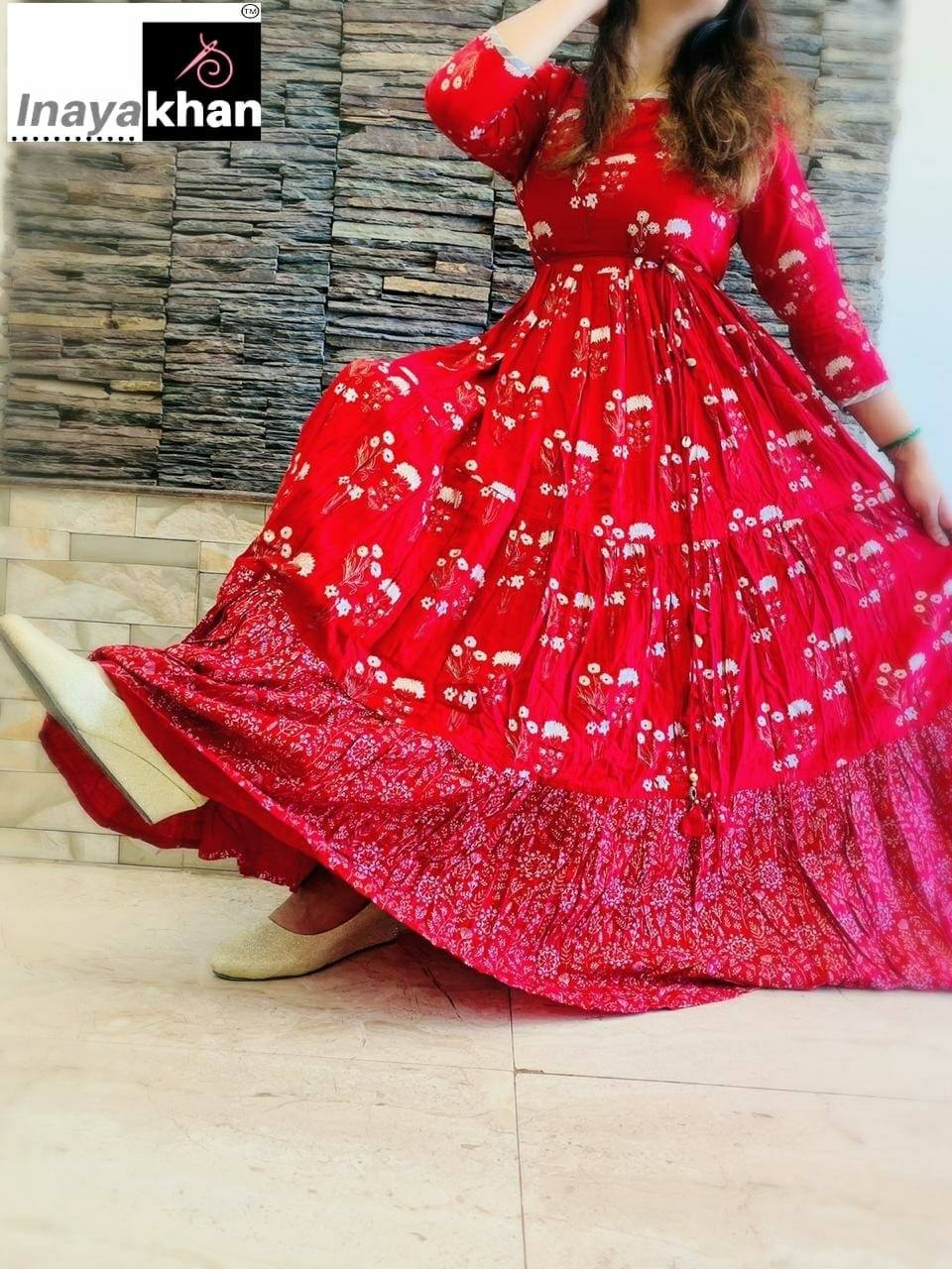 Red 7 Meter Flare Handblock and handwork Rayon Gown